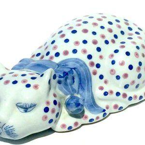Large Ceramic Cat Chinese China Blue And Pink Polk